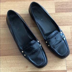 PRADA black leather loafers 39